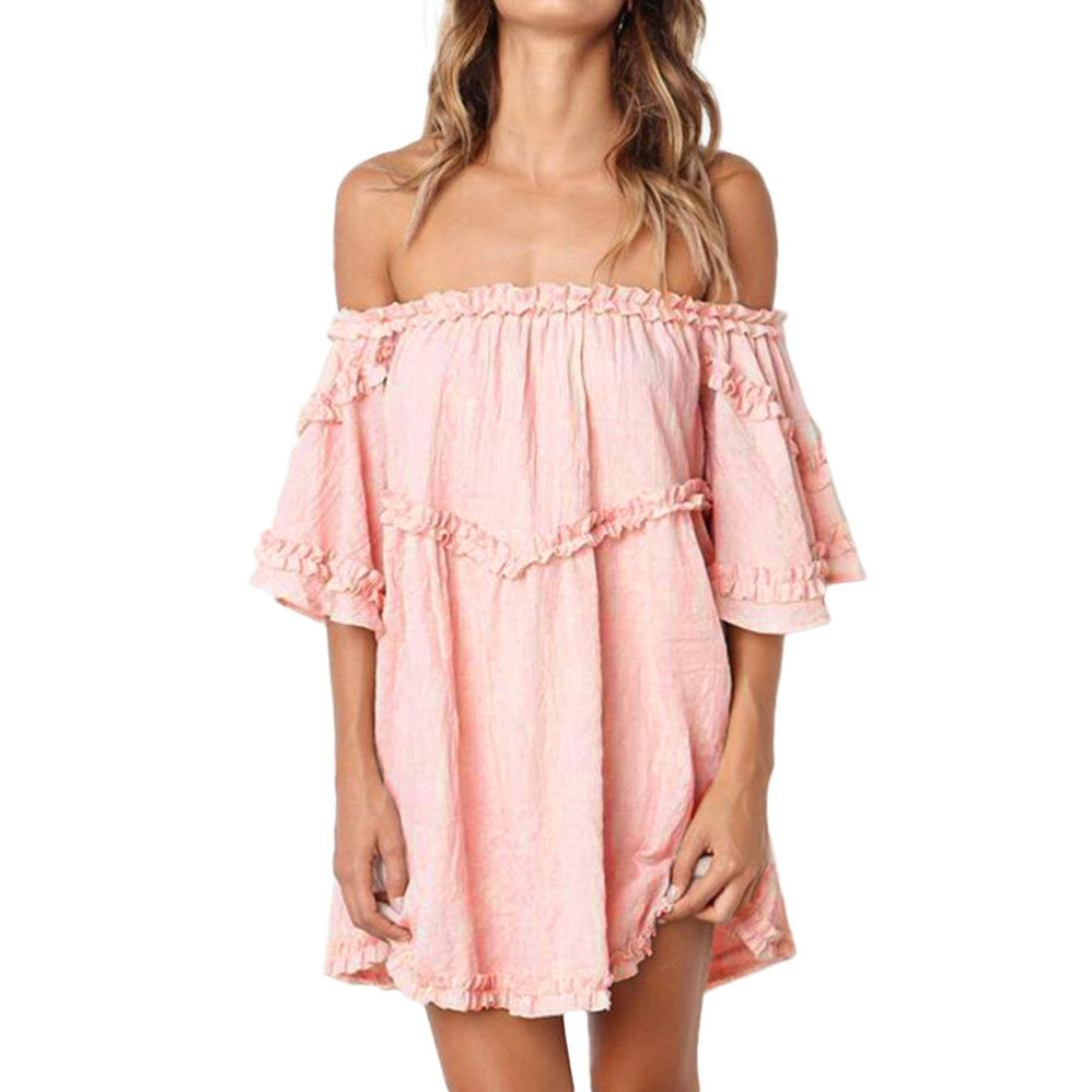 Caopixx 2018 Short Mini Dresses Womens Off Shoulder Beach Dresses Ruffle Half Sleeve Party Dress