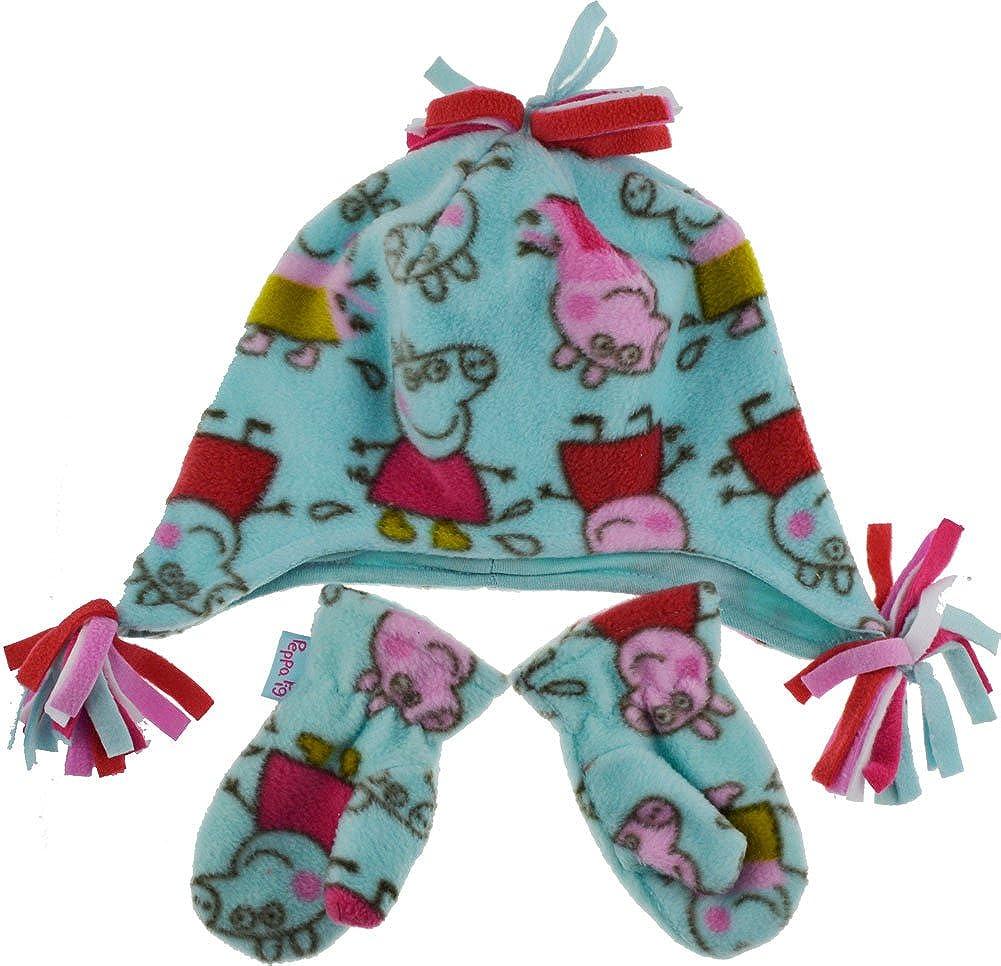 Girls Kids Peppa Pig 2pc Winter Fleece Hat and Mittens Set