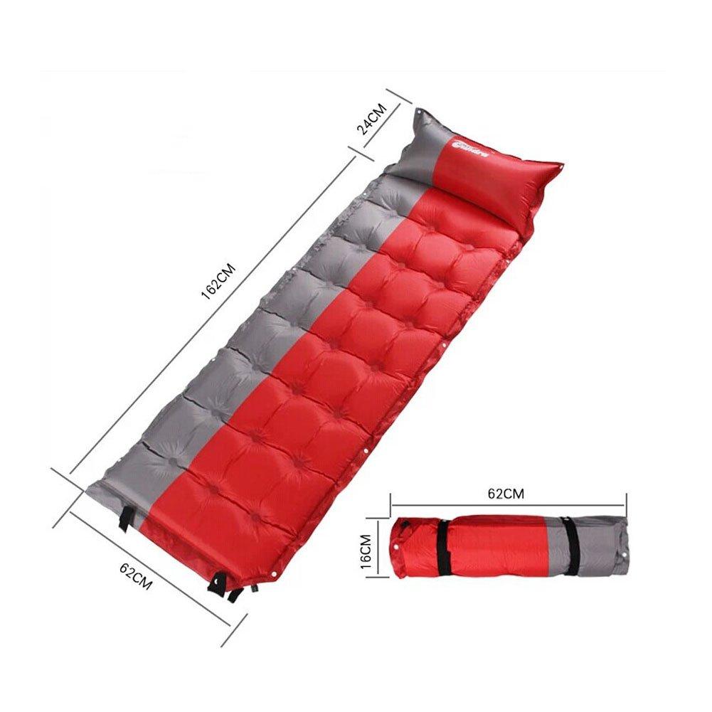 軽量Sleepingマットマットレスデフクラブパッドパッドと枕、赤/グレー B00KYP8GCK