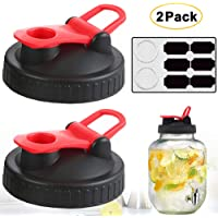 Mason Jar Lids - 2 Pack Wide Mouth Mason Flip Caps Seal Storage with Easy Pour Spout Reusable and Leak-Proof - for Drinking, Pouring and Storing for Mason/Ball/Canning Jars (Jars not Included)-Red