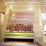 DE&QW U type court bunk bed mosquito net bed canopy, Rail type Children Bunk bed nets 50d encryption account yarn mosquito curtain-yellow 120x250x260cm(47x98x102inch)