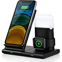 Wireless Charger, Abetcabe 3 in 1 Wireless Charger Station, Qi Wireless Charging Stand Compatible with iPhone 11/11 Pro/11 Pro Max/X/XS/XS Max/8, Airpods Pro/1/2, iWatch 5/4/3/2/1(Not Included Adapter)
