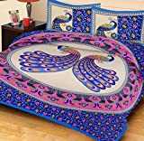 Kuber Industries 144 TC Cotton Double Bedsheet 2 Pillow Covers -Blue & Pink (Peacock Design)
