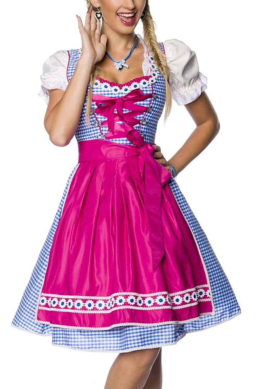 Dirndl Kleid Kostüm mit Schürze Minidirndl mit Karomuster und ausgestelltem Rockteil Oktoberfest Dirndl pink/blau/weiß