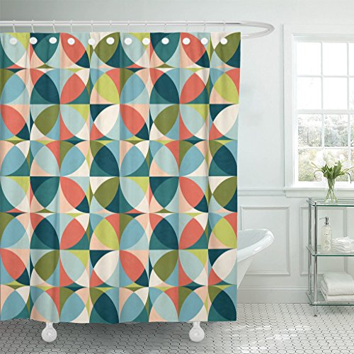 Emvency Shower Curtain Blue Abstract Geometric in Mid Century Modern Colors Green Waterproof Polyester Fabric 60 x 72 inches Set with Hooks