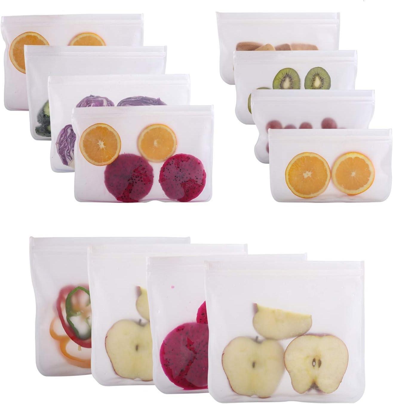 12 Pack Reusable Storage Bags, IDEALUX Waterproof Reusable Snack Bags, Leak Proof Freezer Ziplock Bags, Food Grade PEVA Lunch Bags for Sandwich and Fruit