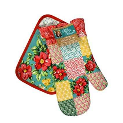 Cool Amazon Com The Pioneer Woman Patchwork Kitchen Set Oven Home Interior And Landscaping Ologienasavecom