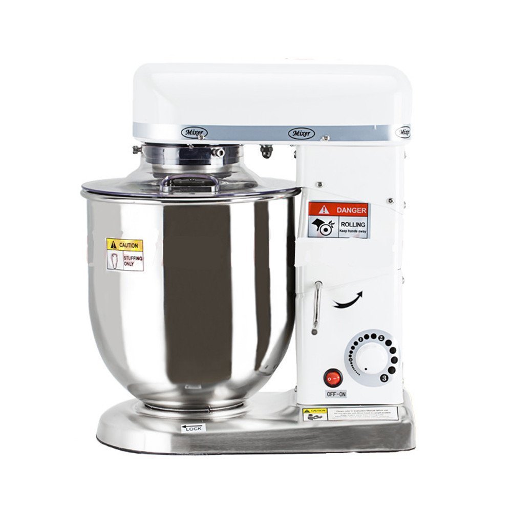 NEWTRY Multi-Function 5,7, 10 Liters Electric Stand Food Mixer Food Blender Planetary Cooking Mixer, Egg/Cake/Milk Shake Beater, Dough Mixer Machine (7L White)