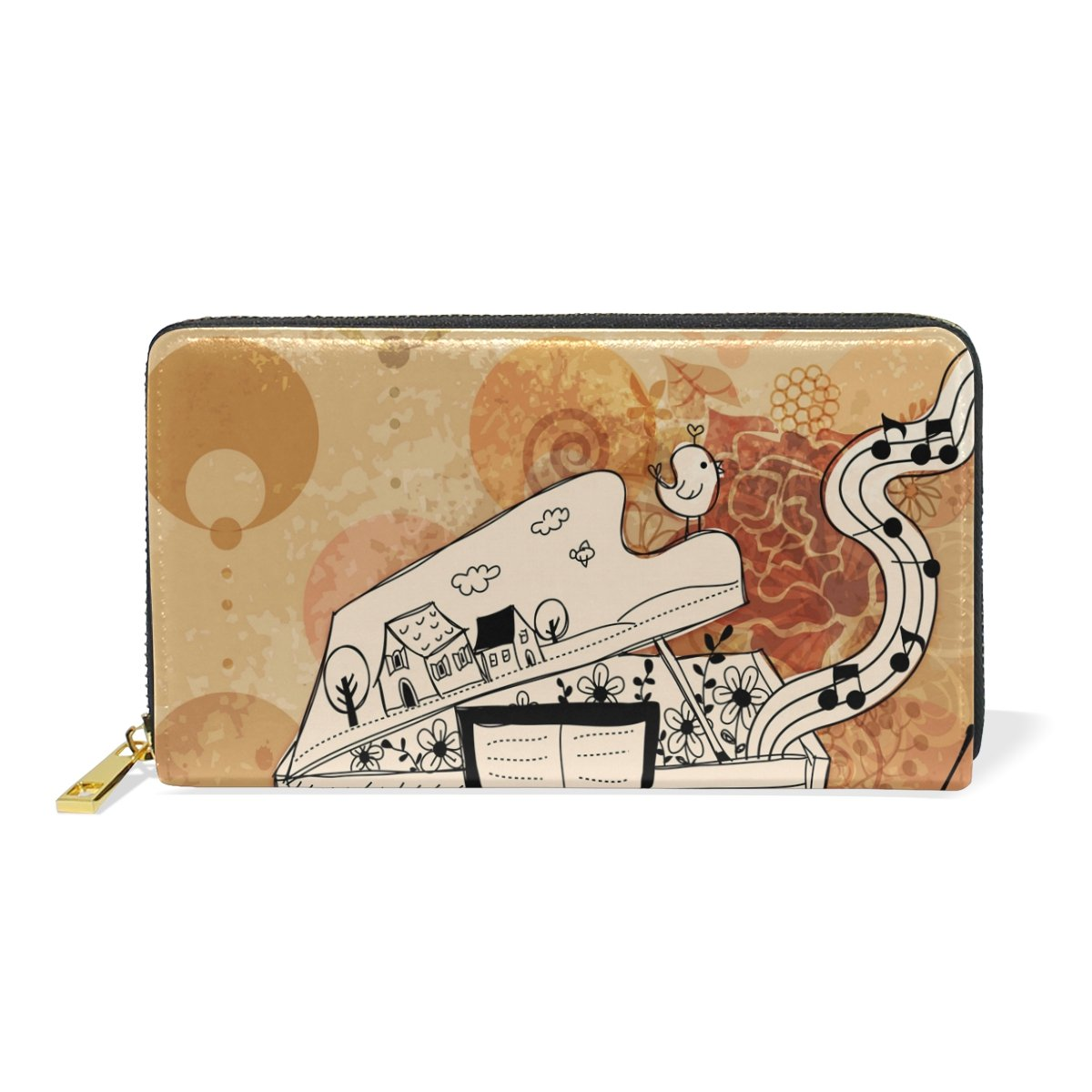 Women Genuine Leather Wallet Vintage Piano Zipper Purse Girl Phone Clutch