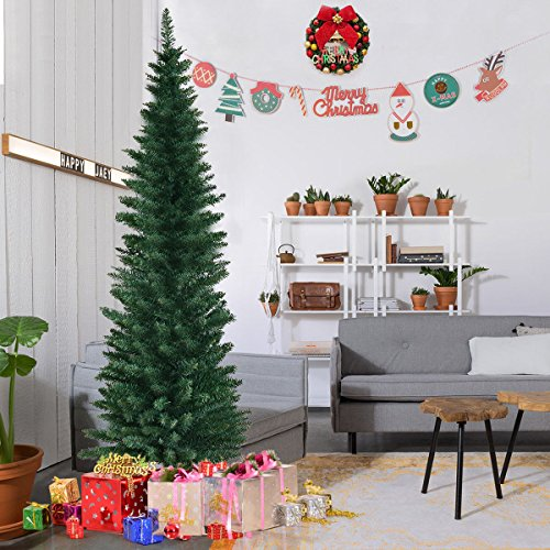 Slim Christmas Trees - Goplus 6FT PVC Artificial Pencil Christmas Tree Slim Tree w/ Metal Stand for Indoor and Outdoor, Green (6 FT)