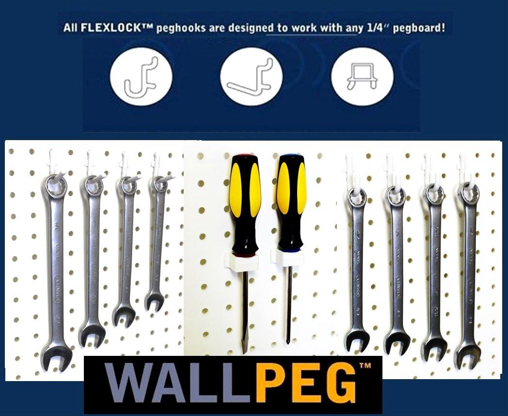 WallPeg pegboard hooks - 60 Pc. Flex Lock Peg Hooks - Workbench Tool Organizer