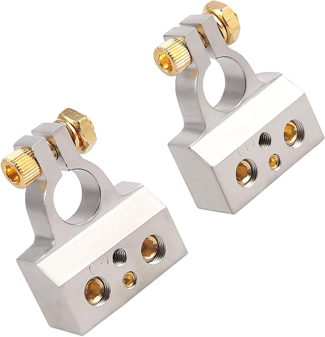 Positive Negative Battery Post Connectors With Clamp and Shims for Auto Car Caravan Marine Boat Motorhome 0//4//8 or 10 Gauge Car Battery Terminal Connectors Kit