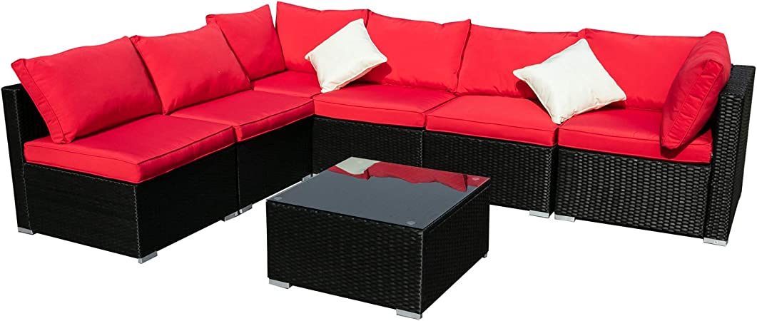 Amazon Com Outdoor Wicker Patio Furniture 7pcs Sectional Cushioned Rattan Conversation Sofa Sets Black Red Garden Outdoor