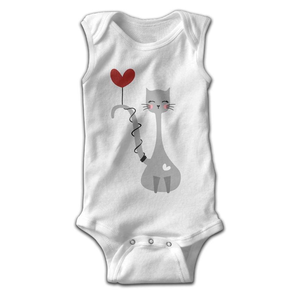 Midbeauty Love Heart Cat Newborn Infant Baby Summer Sleeveless Bodysuit Romper Jumpsuits Playsuit