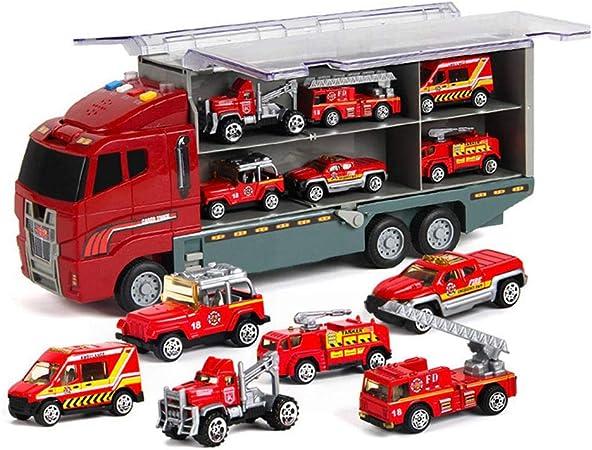 KOBWA Transport Camion Jouet, Transporteur de Voiture avec 6 coloré Mini Metal Voitures pour Filles et garçons