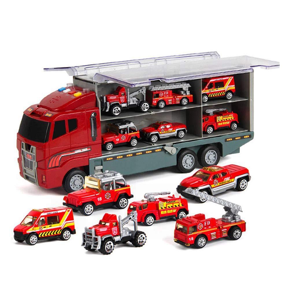 Transporteur de Voiture avec 6/color/é Mini Metal Voitures pour Filles et gar/çons KOBWA Transport Camion Jouet