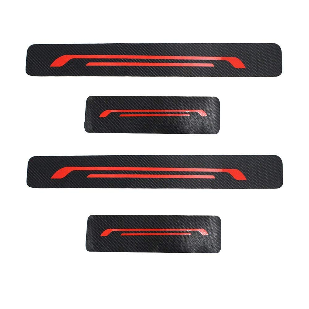 4Pcs Carbon Fiber Anti Scratch Car Door Sill Sticker Scuff Plate Cover Panel Step Protector With Red Reflective Stickers Scrapper For Discovery 4