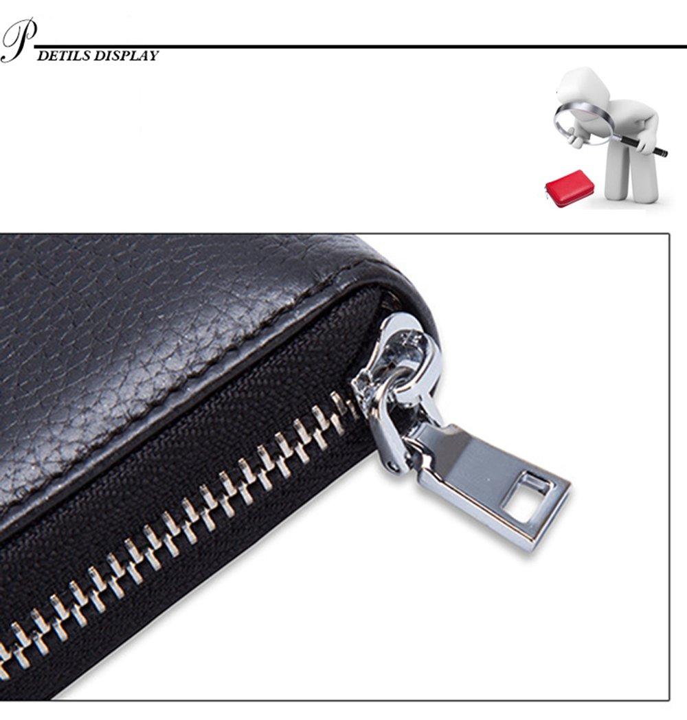 Tarjetero para Tarjetas de Crédito para Mujeres Hombres con la Ranura de la Licencia de Conducir crédito Protector de la caja de tarjetas de identificación Organizador del monedero by SINOKAL (Marrón)