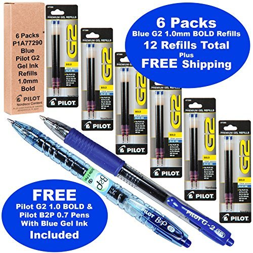 Pilot G2 Refills, Blue Gel Ink 1.0mm Bold Pt, 6 Packs of Refills Plus 1 Pilot G2 1.0 Bold Pt. Blue Pen and 1 Pilot B2p Blue Pen