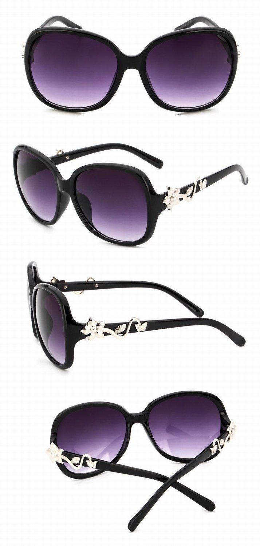 Gafas de Sol Redondas Del Metal Del Color Gafas de Sol Retras Del Metal Unisex Negro Brillante