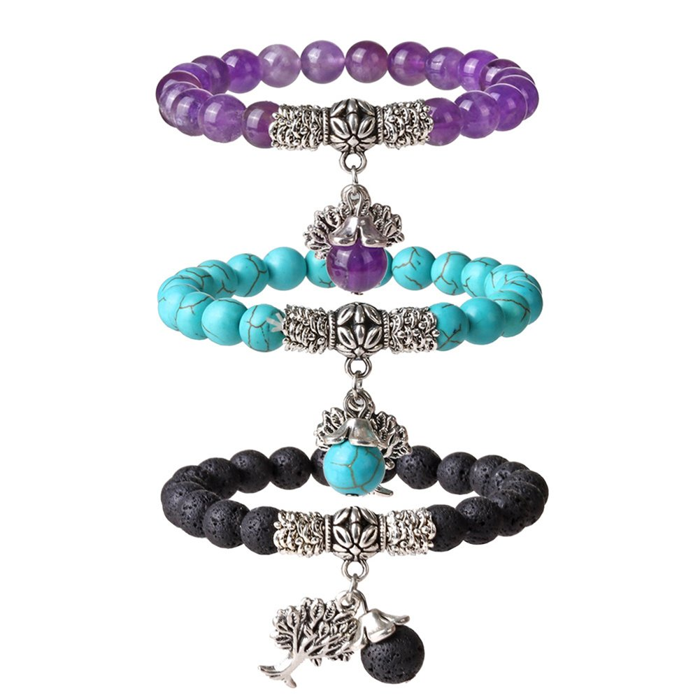 SIVITE 7 Chakra Lava Rock Crystal Mala Beads Bracelet Tree of Life Yoga Meditation Reiki Prayer Bracelet YCM B-QML-2-067