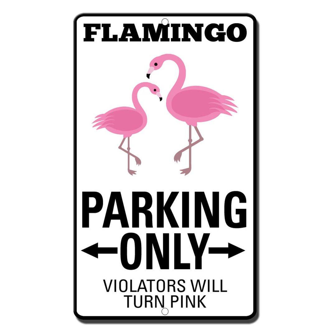 Flamingo駐車場のみ違反者Turnピンクスタイル2ノベルティ面白いメタルサイン B06ZZ1DGJ3
