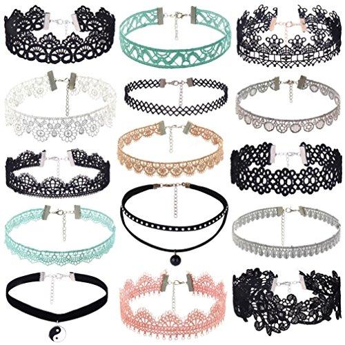 (BSGSH 15 Pcs Velvet Choker Necklace Set For Women Girls Gothic Tattoo Lace Multicolor Chokers (Multicolor   Style D))