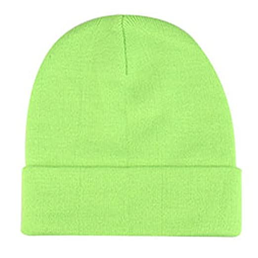 18ca68f42ea Knit Cuffed Beanie Watch Cap Neon Green at Amazon Women s Clothing ...