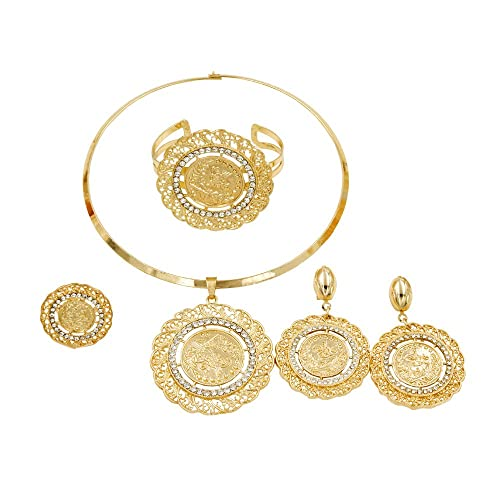 f1f23227ac Liffly Fashion Crystal Jewelry Set 18 K Gold Plated Jewelry Weddings Dubai  Gold Necklace Earrings Set
