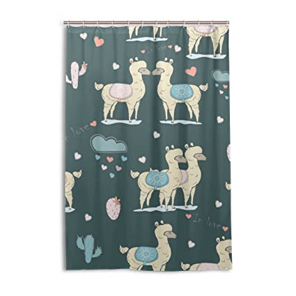 Alpaca In Love Cute Shower Curtain Bath Curtains Hooks 48 X 72 Inches Polyester Fabric Waterproof