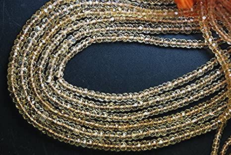 Super Finest Golden Citrine Faceted Large Rondelles Size 4.5mm 13.5/'/' Full Strand