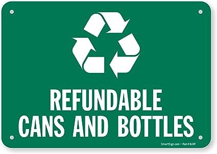 Amazon.com: refundable latas y botellas (con símbolo de ...