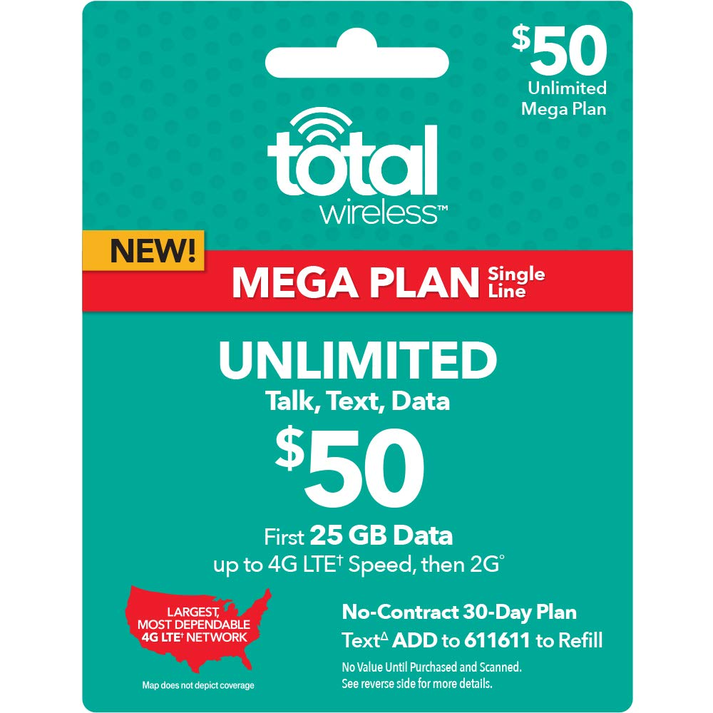 Total Wireless $50 30-Day 1-Line Unlimited Mega Plan Prepaid Phone Card by Total Wireless