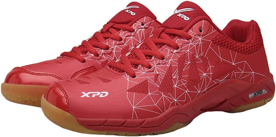 XFQ Zapatos Tenis De Mesa, Tenis Profesional Zapatos Ligeros De Interior Zapatillas De Deporte De Alta Elasticidad Antideslizantes De Los Zapatos De Bádminton,Rojo,45EU
