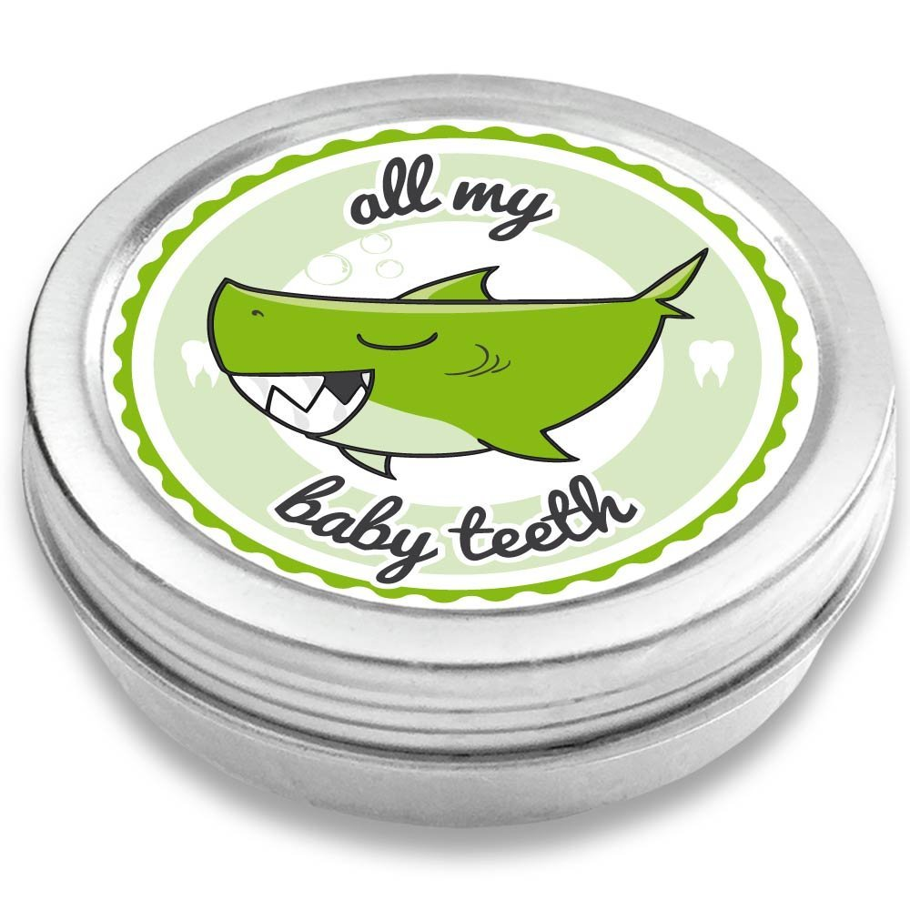 Doctors Baby Tooth Box Keepsake for Boys | Shark Henri | Vintage Tooth Fairy Souvenir Box | Silver-Colored | boy Baby Shower Gift | Holder (Green)