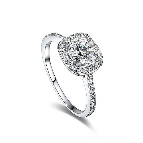 Anillos de boda para mujer chapado en platino joyas lujo anillos compromiso cuadrado Bague AAA circonitas