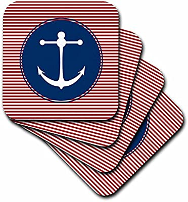3dRose cst/_55600/_3 Anchor Yacht Club Beach Art Sailing and Water Sports Designs Ceramic Tile Coasters Set of 4