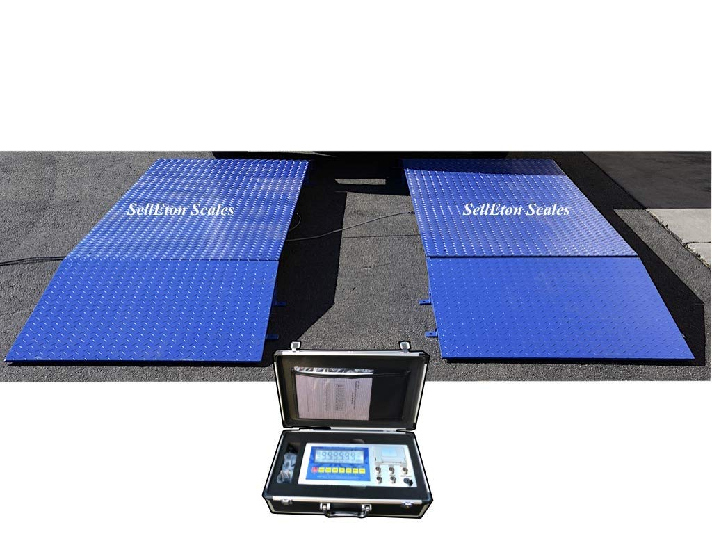 Selleton 60,000 Lbs Axle Scale//Truck Scale with Safety Rails 32 X 84 X 6 with Printer