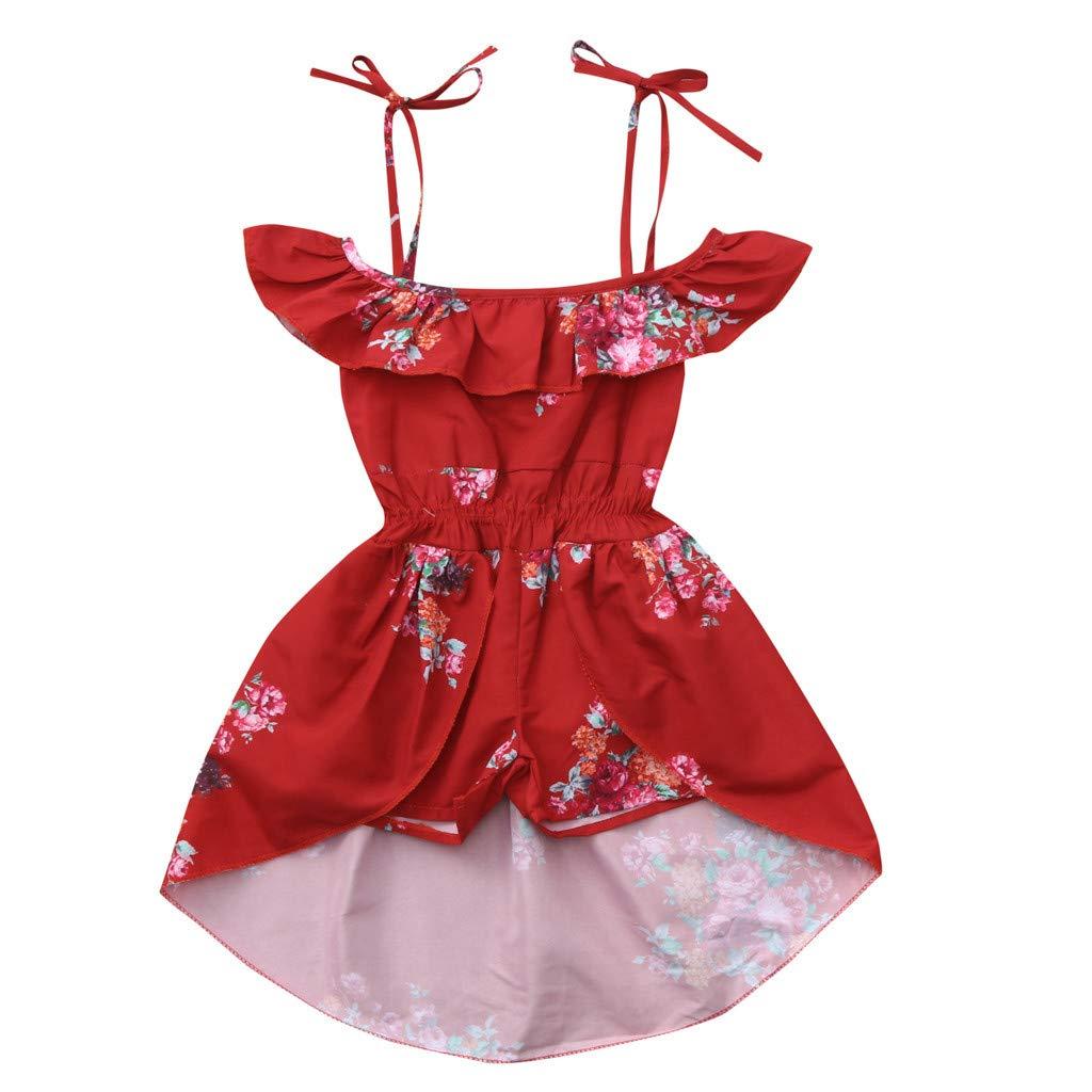 Dsood Little Girl Dress, Floral Dress Toddler Infant Baby Girls Short Sleeve Off Shoulder Ruffles Dress Summer Clothes
