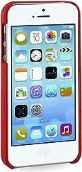 Stilgut, couverture arrière exclusive en cuir véritable pour l'iPhone 5 & 5s d'Apple, rouge