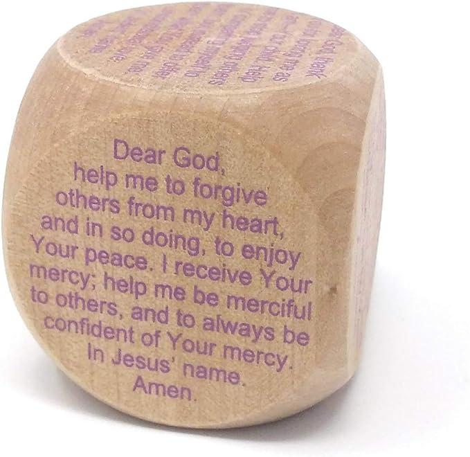 Prayer Cube Headless evening prayers Wood Blue writing images 60x60x60 Gift