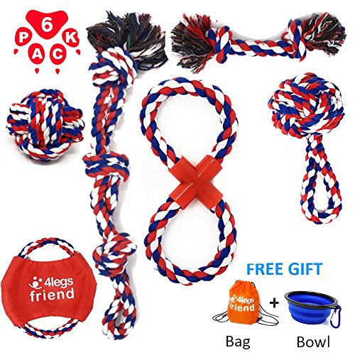 Dog Cotton Rope Toys Set for Medium and Large Dogs Who Love to Play Rough and are Aggressive Chewers. Almost Indestructible, Washable Dental Floss, Tough Tug of War/Chewing Toys - (6 pack + Bonus) Dog Chew Tug Toy