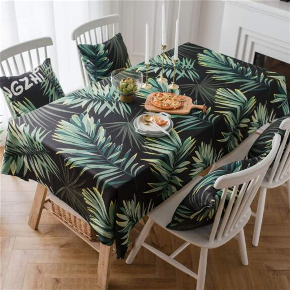 LYJZH Mantel país impresión Digital Gruesa Tela de Hoja Verde Tela Comida Rectangular Cubierta Toalla paño Hoja Verde Negro 135 * 200