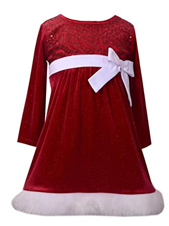 b79bca15501 Ashley Ann Infant   Toddler Girls Red Velvet Glitter   Sequin Santa Claus  Holiday Dress 2T