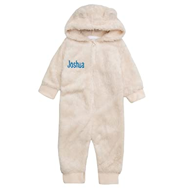dd9be4920282 Personalised Embroidered Baby Fleece Onesie with Teddy Bear Ears ...