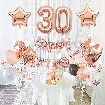 Happy Birthday 30th Rose Gold Decoration With Foil Banner Star And Mylar