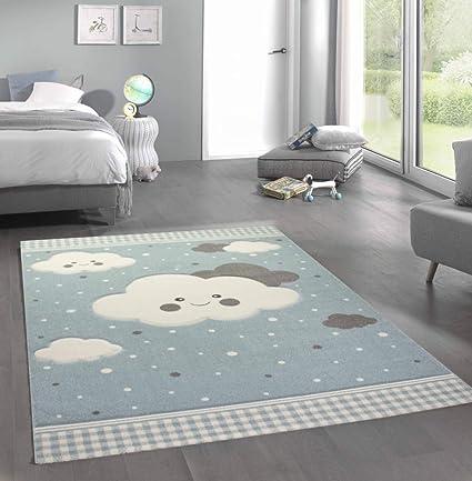 merinos nuages de tapis pour enfants tapis de jeu blue grosse 80x150 cm