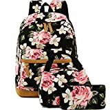 School Backpack for Girls Canvas 3pc Laptop Bag, Lunch Bag, Pencil Case Deal