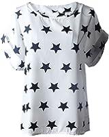 FEITONG Damen Sommer Beiläufige Bluse Drucken Kurzarm Chiffon T-Shirt Tops