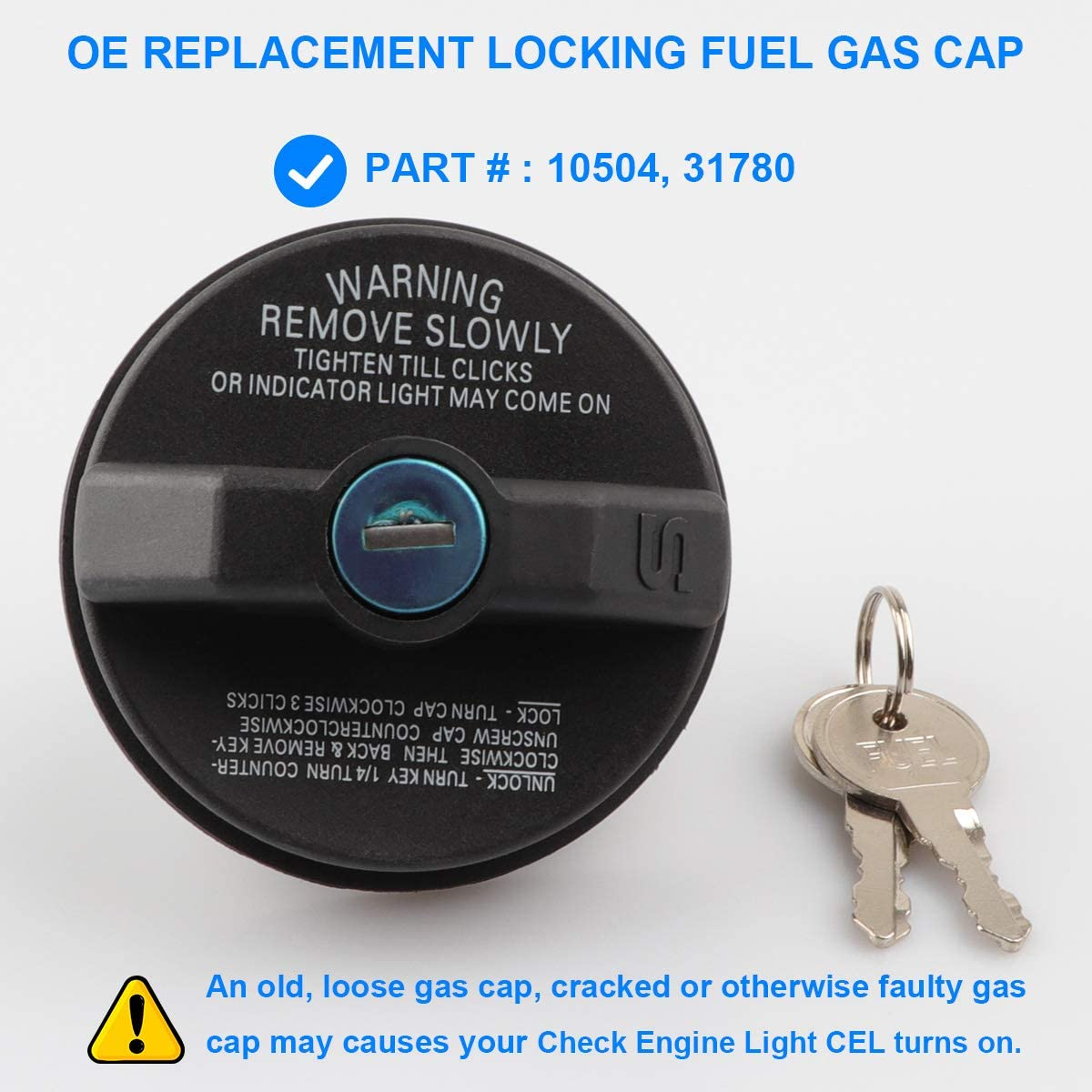 Locking Gas Fuel Cap for Buick Cadillac Chevy GMC Isuzu Olds Pontiac Saturn